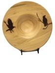 Ravens woodburned on platter