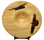 Ravens woodburned on platterRavens woodburned on platter