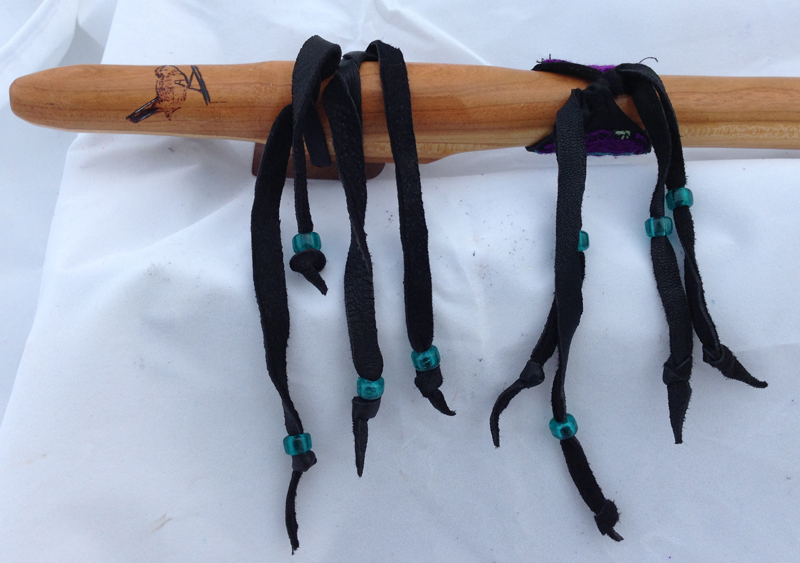 Mulberry flute with purple & teal tapestry wrap
