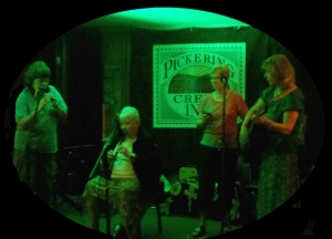 Judy, Pat, Jeanne Lyle and Lynn Miller jam on stage at Pickering Creek. Flute Haven 2012.