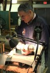 Chuck works on a miniature vessel on one of Arrowmont's new Jet lathes.