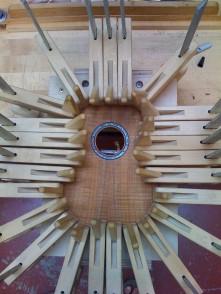Gluing soundboard onto uke sides