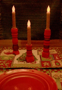 Woodturned and handpainted candlestick holders add to the festive mood at holiday meals. I'll be selling these candlestick holders at the Glam Craft Festival on Dec. 7.