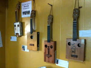 Judy Robinson ukuleles on display at Satchel's