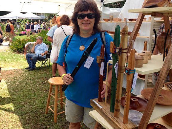 Judy and her flutes at Spring Garden Festival 2015