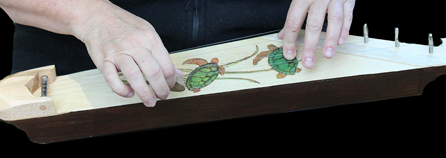 5-string Kantele with turtle pyrography