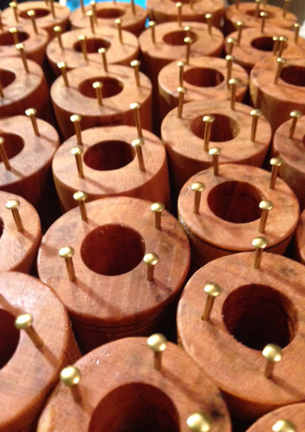 Many finished cherry spools
