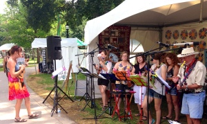 The Southern Ontario Ukulele Players performed at the London, Ontario, Folk Festival
