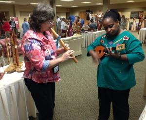 flute and uke playing at Harp Gathering