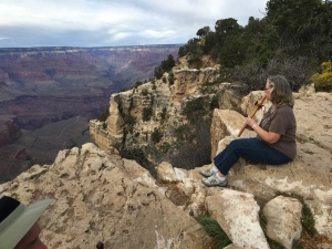 A friend sent a photo of her recently playing her WrenSong flute at the edge of the Grand Canyon, overlooking Indian Gardens. She said as she played she was approached and asked about the music she was playing.