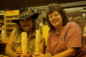 Gene Webb, Judy Robinson & carved Windspirits