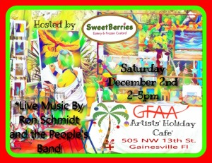 SweetBerries poster for Artists' Holiday Cafe 2017