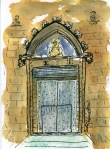 Church doors in Pedro Plaza, Barcelona