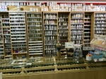 Piera paints behind counter