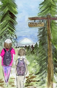 Watercolor, pen and ink of friends on the Marquam Trail