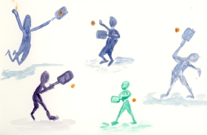 pickleball poses watercolor