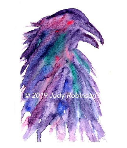 Raven in Watercolor by Judy Robinson