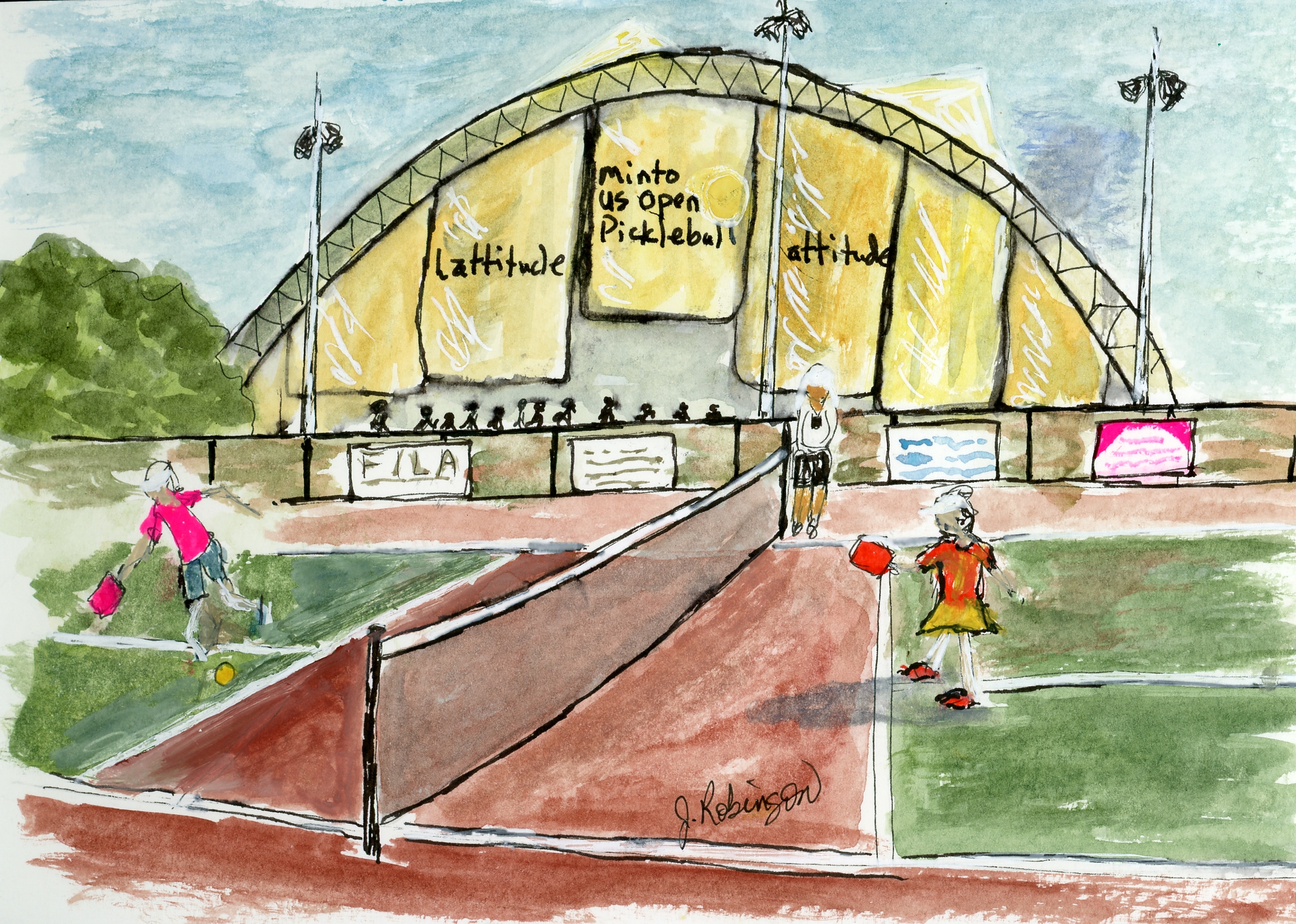 Urban Sketch - Watching a game at the Pickleball Capitol of the World