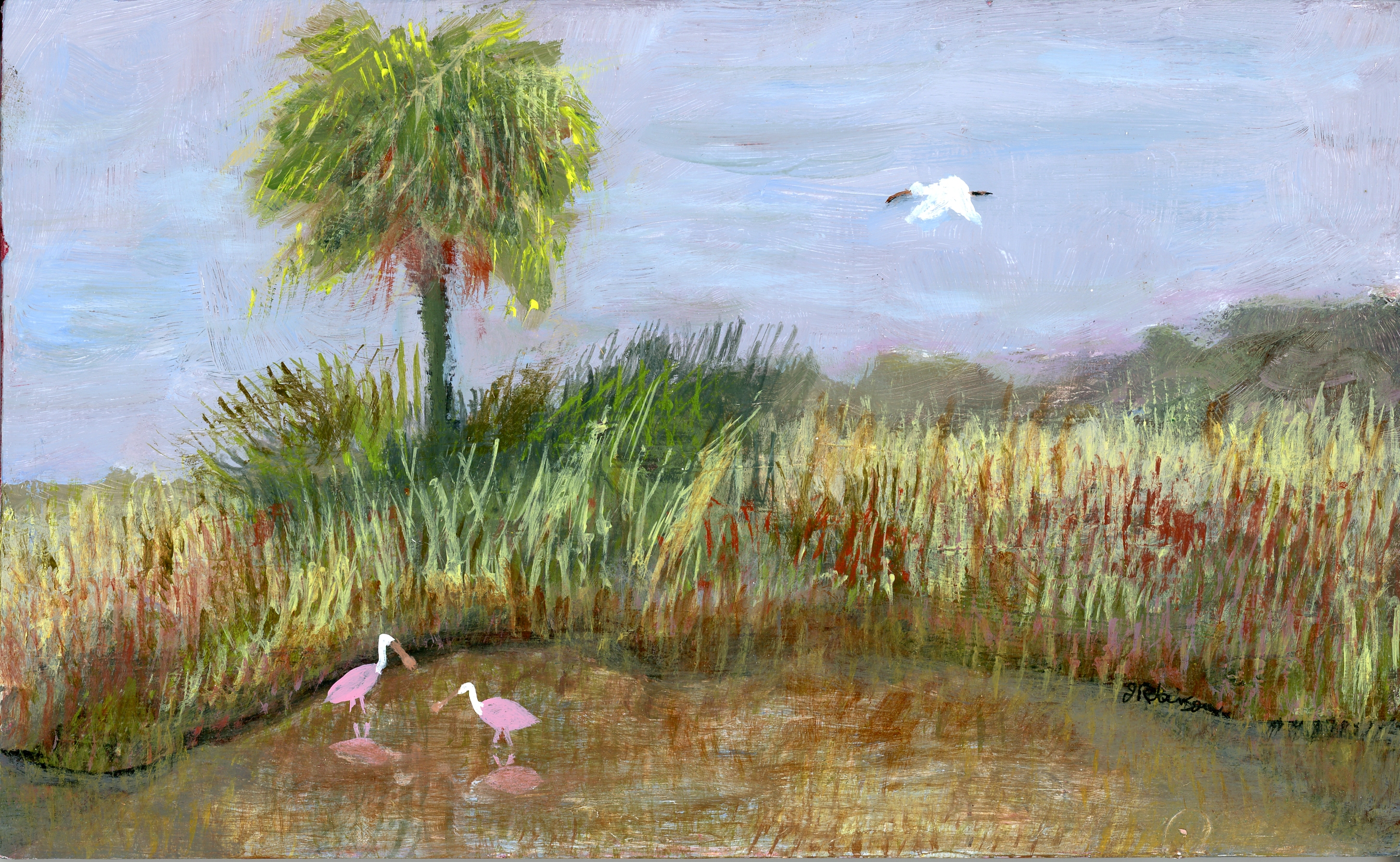 Two Spoonbills & Palm